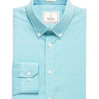 Button-down Dress Shirt in Teal Gingham
