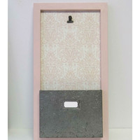 Pink Damask Photo & Pocket File Board
