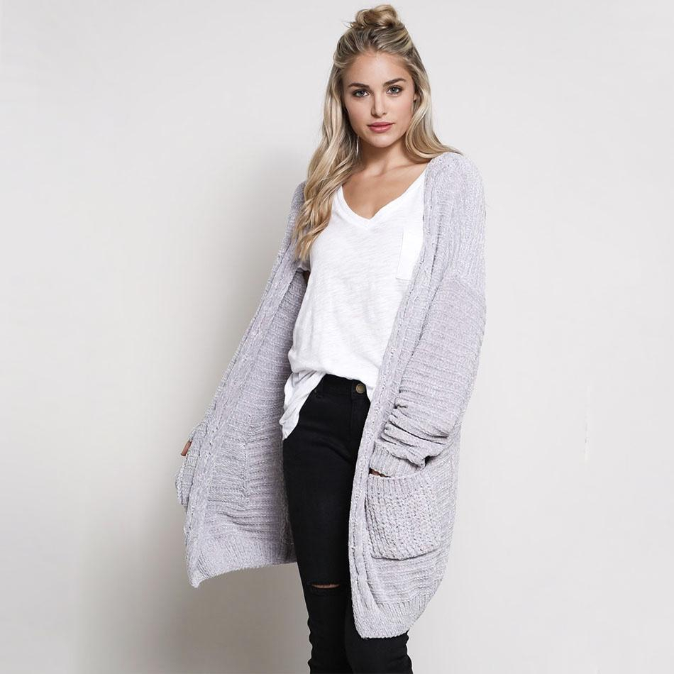 Image of Textured Chenille Knit Shawl Cardigan in Silver