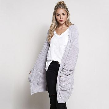 Textured Chenille Knit Shawl Cardigan in Silver