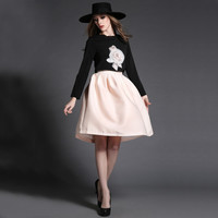 Black Sweater and Pale Pink Skirt Set