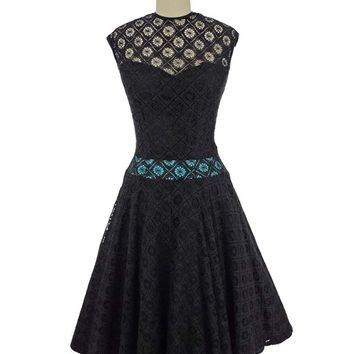 60s Black Spiderweb Lace Full Skirt Party Dress
