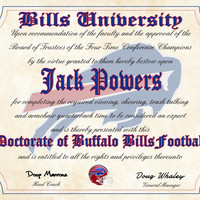 """Buffalo Bills Ultimate Football Fan Personalized Diploma - Perfect Gift - 8.5"""" x 11"""" Parchment Paper"""