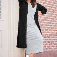 3/4 Sleeve Knit Maxi Dress