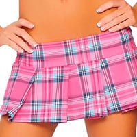 Hot Pink Plaid 6 Inch Mini Skirt-Plaid Mini Skirts