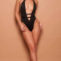 Rope lace up one piece monokini swimsuit