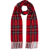 River Island MensRed plaid scarf
