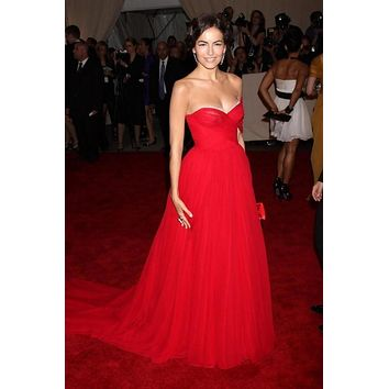 Camilla Belle Red One-shoulder Prom Dress Bridesmaid Celebrity Dress Met Gala Red Carpet Online For Sale