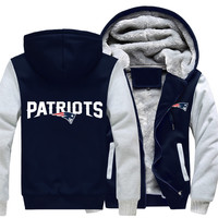 New England Patriots NFL Football Jacket Thicken Hoodie