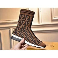 2018 Hot ! FENDI Trending Women Casual Knitted Stretch Boots Flat Heel Thick Medium Socks Boots Coffee I-OMDP-GD
