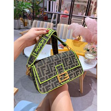 FENDI Dual F Fluorescent green stick bag