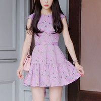 Purple Floral Flounced Dress