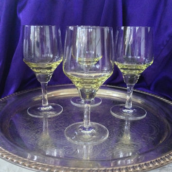 Sasaki Harmony Water Goblets, Yellow Green Citron Blown Glass, Clear Stems, 1970s Mid Century Modern Tableware, Set of Four
