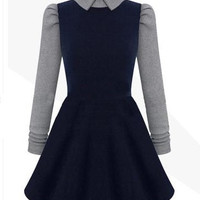 Collared Long Sleeve Skater Dress