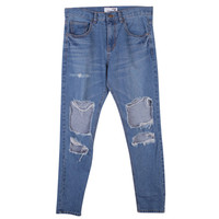 Blue Ripped Knee Loose Fit Jeans