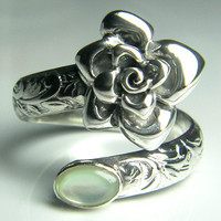Rose Sterling Silver Gemstone Adjustable Spoon Ring (choose your gemstone)