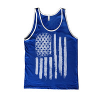 US Flag Contrast Tank-Top - Royal Blue/White