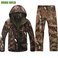 Lurker Shark Skin Soft Shell Tactical Jacket+Pants suit Men Waterproof  Hiking  Hunting hooded  Camouflage Army Clothes