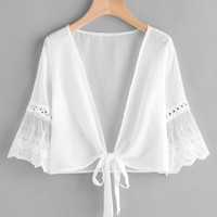 Embroidered Mesh Fluted Sleeve Self Tie Kimono