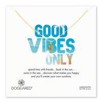 good vibes only palm tree necklace, gold dipped, 18 inch
