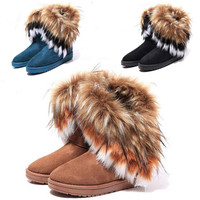 Fashion Women's Princess Shoes Warm Fringed Fur Winter Snow Casual Boots Gift
