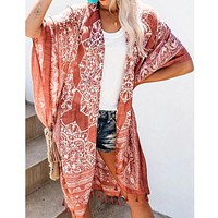 Boho Bohemian Print Blue Summer Beach Wear Long Kimono Women Swimsuit Cover Up Plus Size Bikini Coverup Sarong Plage A196