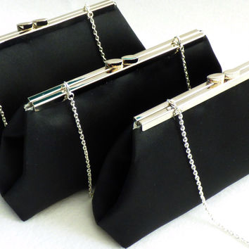 Set of Three Black and Silver Paisley Bridesmaid Gift Clutches 5% Off