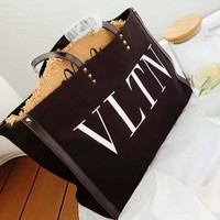 Valentino Popular Women Shopping Bag Leather Tote Handbag Shoulder Bag Zipper Purse Wallet Set Two Piece