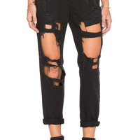 Reverse Destroyed Pants Boyfriend Jeans - Black