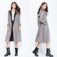 Europe Spring Autumn Ladies Slim Long Trench Coat Casual Gray Camel Black Suede Trenchcoat Outerwear Clothing for Women Femme