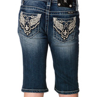 Tween Miss Me Dark Blue Western-Embellished Denim Bermuda Shorts