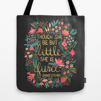 Little & Fierce on Charcoal Tote Bag by Cat Coquillette