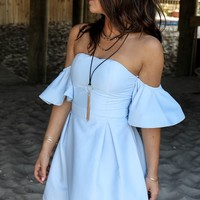 Costa Mesa Baby Blue Woven Dress