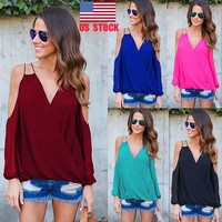 Women Summer Off Shoulder Wrap V Neck Chiffon Casual Loose Shirts Tops Blouse