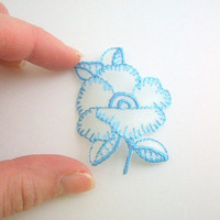 Iron On Patch, Sew On Patch, Rose Patches, Rose Patch, Blue Rose Patch, Blue Rose Patches, Blue Flower Patch, Flower Patches, Sheer, Sewing