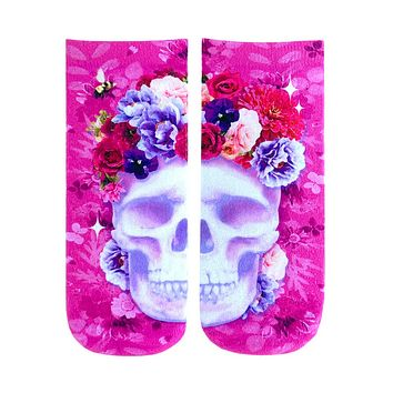 Pink Skull Ankle Socks