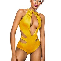 Women's Sexy One-Piece Gold Swimsuit