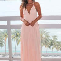 Blush Pleated Maxi Dress with Criss Cross Back