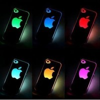 Buy World for New Sense Flash Light LED LCD Color Changed Case Cover Skin for Apple Iphone 5 + Toilet Stand