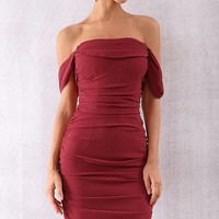 Queen Of Hearts Burgundy Short Sleeve Off The Shoulder Draped Ruched Bodycon Midi Dress
