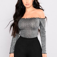 Christa Off Shoulder Top - Silver