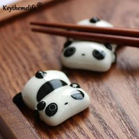 4pcs Cute Panda Chopstick Rack Ceramic Ware Porcelain Spoon Fork Chopsticks Holder Kitchen tools 2C