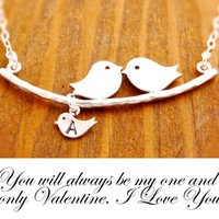 More Messages Available, new mom necklace, mother necklace, baby shower gift, love birds necklace, personalized, initialized necklace, N1