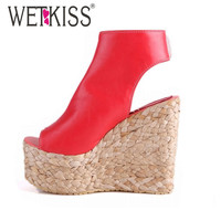 WETKISS 34-43 Bohemia Plaited Straw Wedges Ankle Wrap Cutouts Sandals High Heels Platform Sandals Summer sandals women shoes