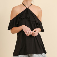 Black Open Shoulder Ruffle Top