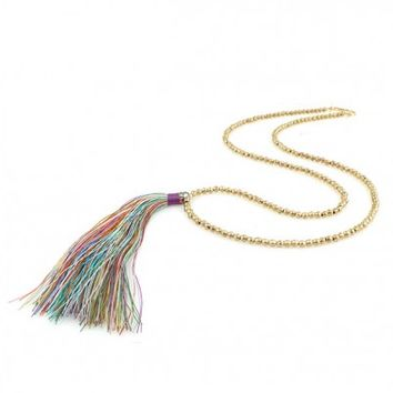 Long Rainbow and Gold Toned Tassel Necklace