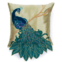 One Kings Lane - Feathered Friends - Peacock 16x16 Pillow, Multi