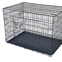 """New 42"""" 2 Doors Pet Folding Suitcase Dog Cat Crate Cage Kennel w/ABS Tray"""