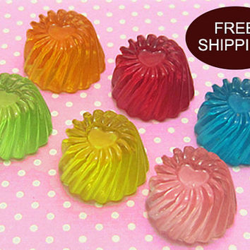 Large Clear Jelly Pudding 6003 0350 Resin Cabochon Decoden 12pcs