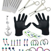 16G, 14G Professional Piercing Kit 36 Pieces (Belly Rings Dangle Tongue Tragus Eyebrow Nipple Lip Nose)